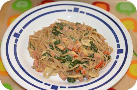 Spaghetti met Spinaze en Boursin