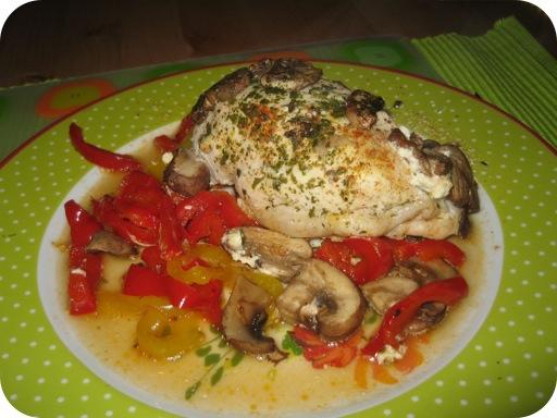 Kip met paprika en champignons uit de oven