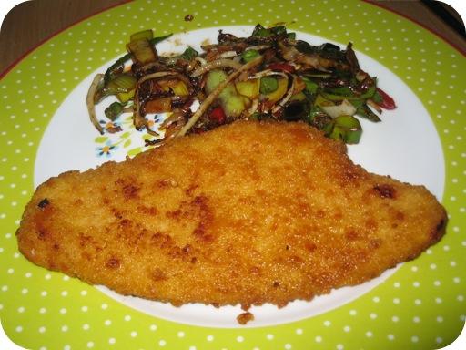 Kipschnitzel met Chinese groente met Hoisinsaus