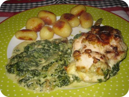 Kipfilet met Mozzarella en Spinazie met gebakken aardappeltjes