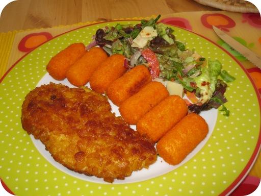 Kip Krokant met Aardappelkroketjes en Italiaanse Salade