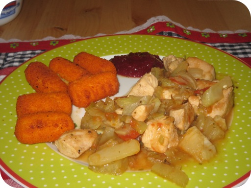 Kipschotel met aardappelkroketjes