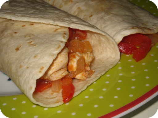 Tortilla met Kip Paprika en Tomaat