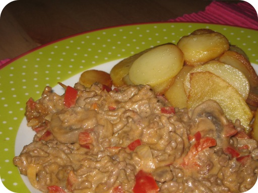Romige Champignons en Paprika met Gehakt