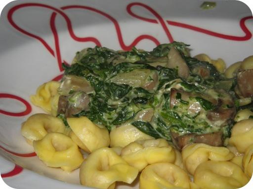 Tortelli met Spinazie en Paddenstoelen
