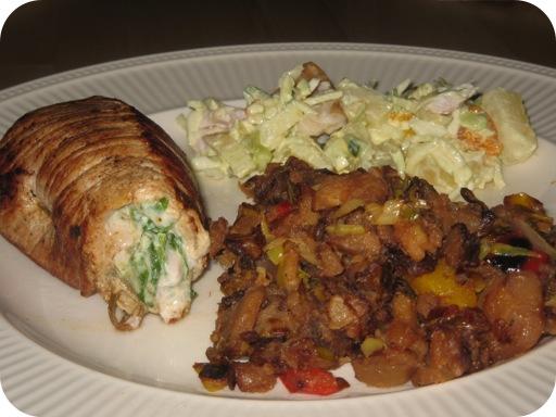 Bouno met Piepers in het Pannetje en een Fruitige Kip Salade