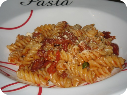 Fusilli met Chorizo en Tomaat