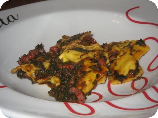 Ravioli met Spinazie en Ontbijtspek