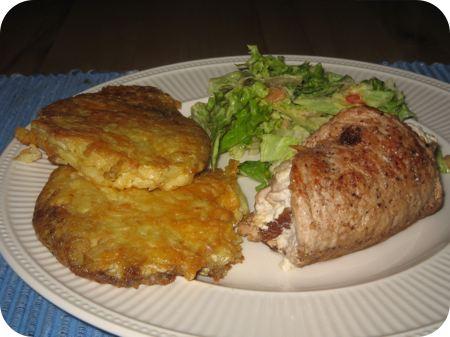 Gevulde Schnitzel met Rozijnen en Aardappel-Kaas Rosti