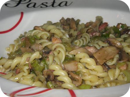 Pasta met Prei, Champignons en Spekjes
