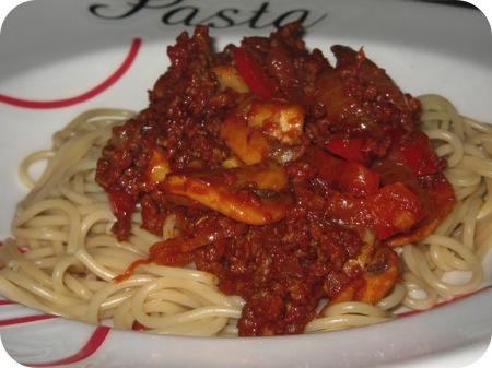 Spaghetti met Paprika en Champignons