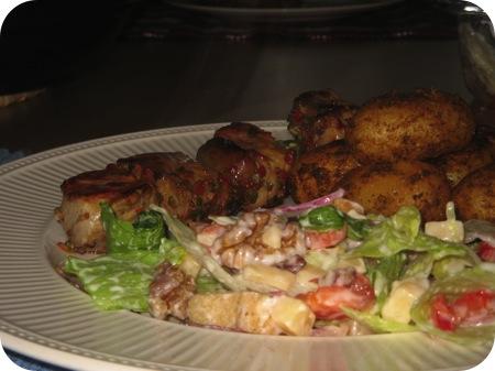 Shaslick met Boerensalade en Gekruide Aardappeltjes