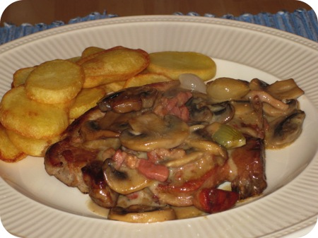 Karbonade met Champignons in Madeira Roomsaus