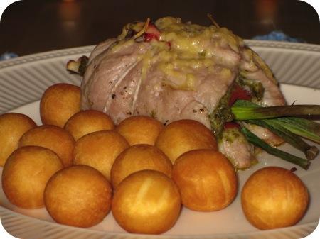 Schnitzels met Pesto en Geroosterde Paprika