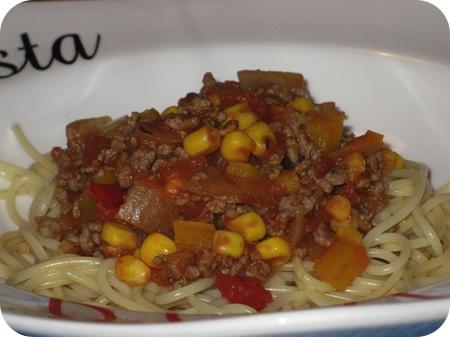 Spaghetti met Maïs en Paprika