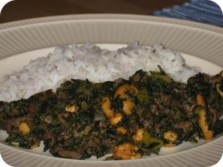 Rijst met Rundvlees en Spinazie
