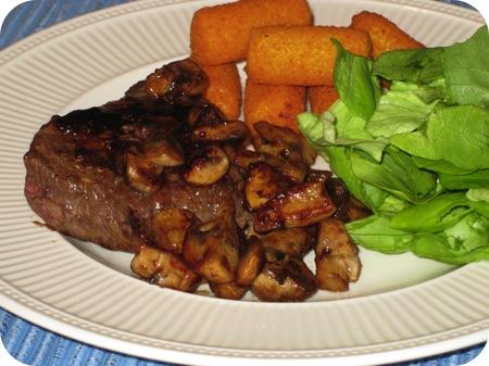 Steak met Champignons