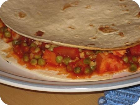 Quesadilla met Doperwten en Gerookte Kip