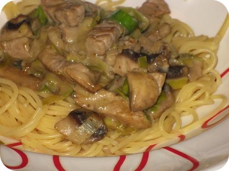Spaghetti met Prei en Schnitzel
