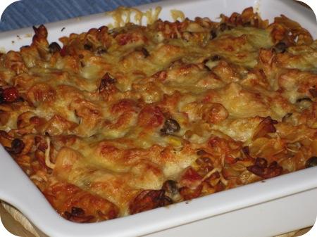 Pasta Ovenschotel met Kapucijners en Mais