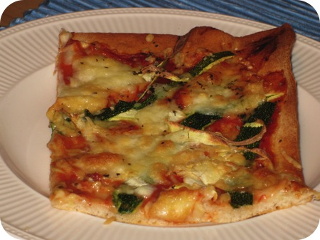 Pizza met Courgette, Mozzarella & Munt