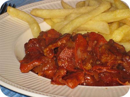 Gestoofd Varkensvlees met Chorizo en Tomaat