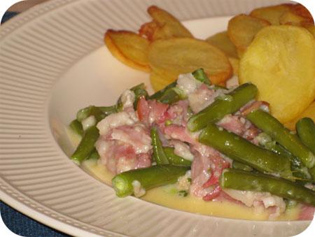 Sperziebonen met Rauwe Ham en Brie