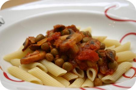 Pasta met Kapucijners en Champignons