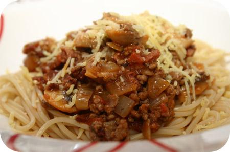 Spaghetti met Champignons en Tomaat