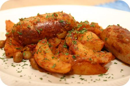 Aardappelschotel met Kapucijners en Catalaanse Worstjes