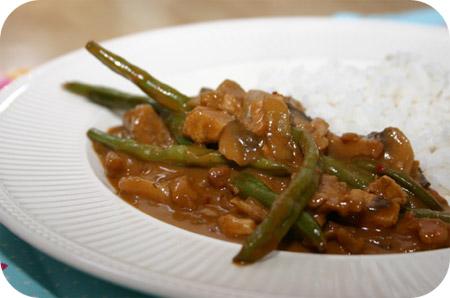 Rijst met Kipfilet, Sperziebonen en Champignons