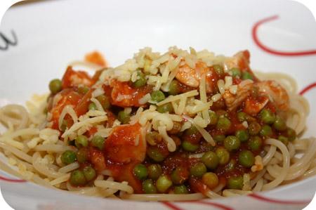 Spaghetti met Kipfilet, Doperwten en Tomatensaus
