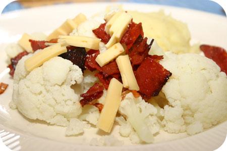 Bloemkool met Chorizo en Kaas