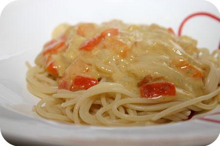 Spaghetti met Paprika-Kaassaus