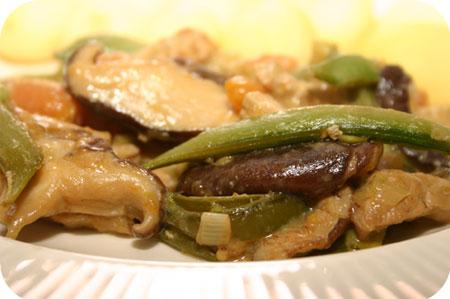 Schnitzel met Sugarsnaps, Shiitake en Worteltjes