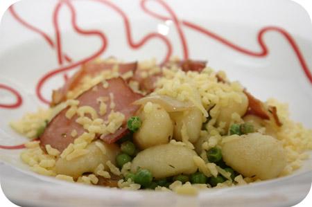Gnocchi met Doperwten en Rauwe Ham
