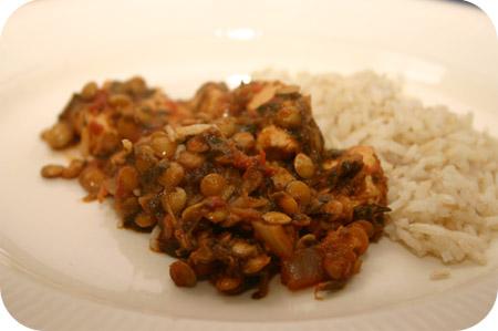 Kip Curry met Linzen en Spinazie