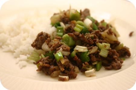 Rijst met Gehakt en Bosui