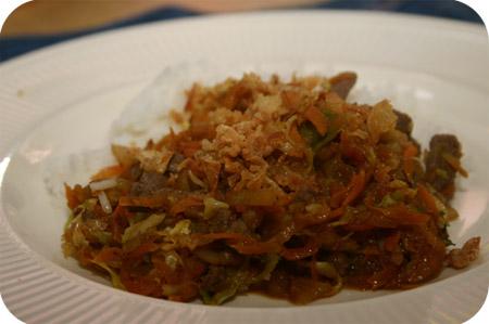 Rijst met Rundvlees, Wortel en Spitskool