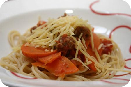 Spaghetti met Tartaar in Tomatensaus