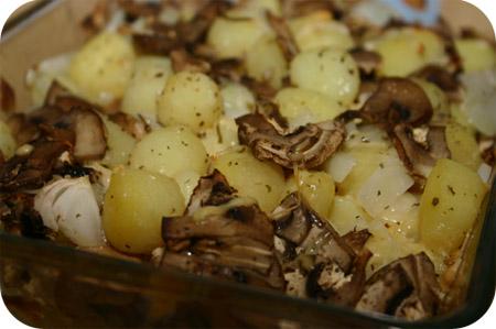 Aardappel-Ovenschoteltje met Champignons