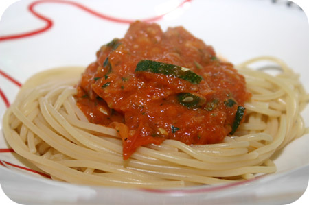 Spaghetti met Courgette-Tomatensaus