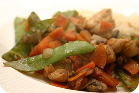 Noodles met Kip, Peultjes en Champignons