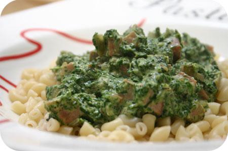 Macaroni met Spinazie, Ham en Mascarpone
