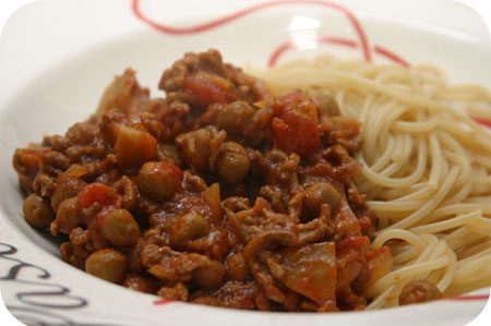 Spaghetti met Kapucijners en Gehakt in Tomatensaus