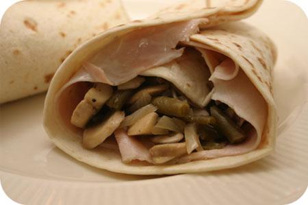 Wraps met Champignons, Sperzieboontjes en Ham
