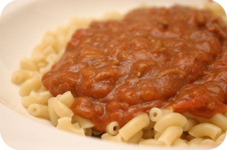 Macaroni met Tomatensaus en Speculaasjes