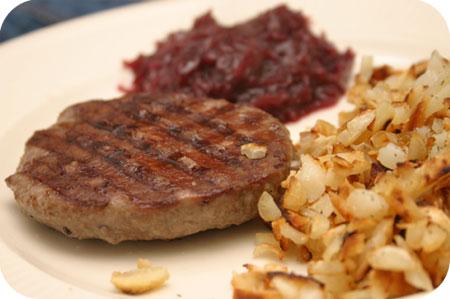 Hamburger met Rode Kool en Rösti