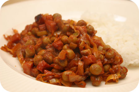 Rijst met Kapucijners en Prei in Tomatensaus