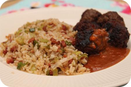 Nasi Keboeli met Indische Gehaktballetjes